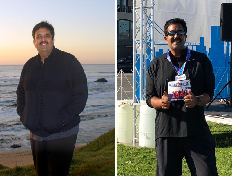 Anuj's 40-pound weight loss journey, before and after